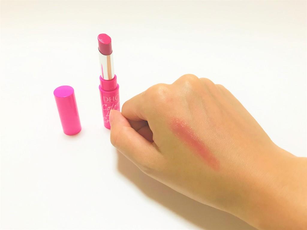 DHCの濃密うるみカラーリップクリーム(ピンク)の発色
